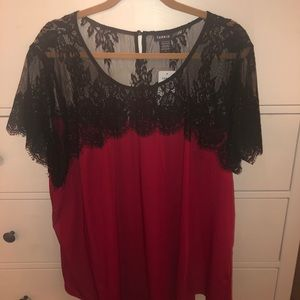 Torrid red black lace top size 3